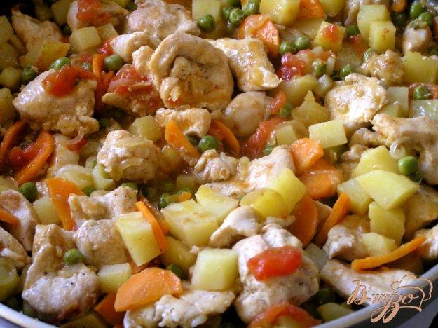 Рецепт Быстрое жаркое из курицы с овощами