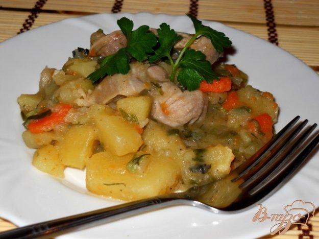 фото рецепта: Ароматный картофель с мясом и зеленью