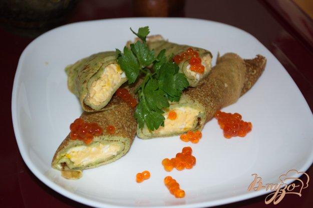 Рецепт Блинчики со шпитаном , сыром и икрой