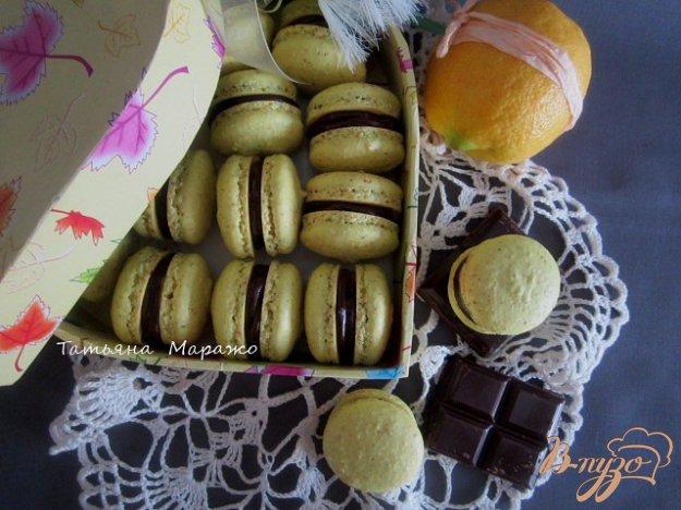 фото рецепта: Макарон с шоколадным ганашем и лимонным курдом