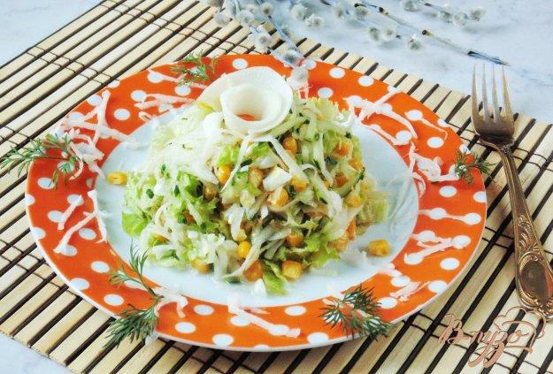 фото рецепта: Салат из кукурузы, редьки и огурца