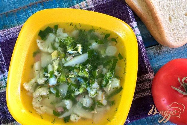 фото рецепта: Суп с колбасой, брокколи и цветной капустой